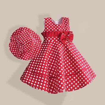 Summer Girl Dress with Hat Red Dot Fashion Bow Girls Dress