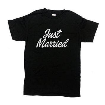 Just Married TShirt Couples Shirt Wedding T-Shirt Wedding Anniversary TShirt Honeymoon Shirts Bride And Groom Customize Mens Tee - SA315