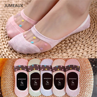 JUMEAUX Harajuku Women Socks Cute Dot Transparent Women Cotton Sock Slippers Summer Low Cut Invisible Socks Kawaii