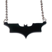 Batman Necklace, The Dark Knight Logo, Comic Book Superhero Necklace