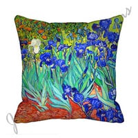 "Van Gogh Irises (both sides) 18"" Decorative Throw Pillow Cover 18x18 Eco Friendly Fabric 18 inch  Pillow Cover orange blue turquoise"
