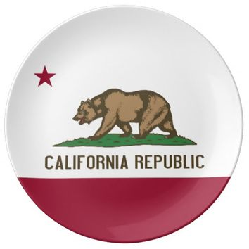 Patriotic porcelain plate with Flag of California