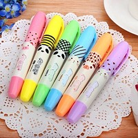 AngelAngel High Capacity Set Of 6 Cute Kawaii Cartoon Candy Scented 6 Colors Fluorescent Ink Markers highlighter Pens Bulk Gift Prizes For Kids School Students