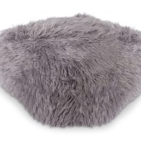 Ophelia Shag Pouf LIGHT GREY
