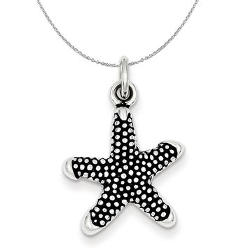 Sterling Silver Antiqued Textured Starfish Necklace