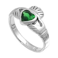 Sterling Silver 12mm Claddagh Simulated Simulated Emerald Ring (Size 4 - 10)