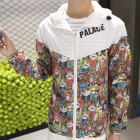 Thin section of the sun trench coat tide card cartoon animation stitching hit color casual men and women windbreaker coat