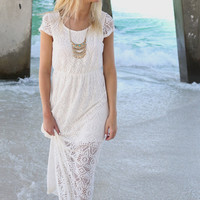Sicilian Islands Off White Lace Short Sleeve Maxi Dress