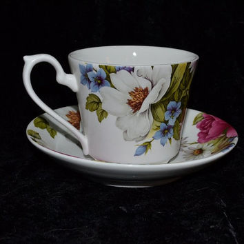 China Cup Saucer Astbury Royal Albert Works Fine Bone China Staffordshire Made in England Bold Floral Pattern