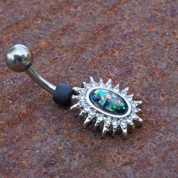 Black Opal Sunburst Belly Button Ring