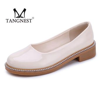 Tangnest  Spring Autumn Oxford Patent Leather Women Loafers Ladies Flat Shoes Shallow Mounth Fashion Casual  Bright Beads