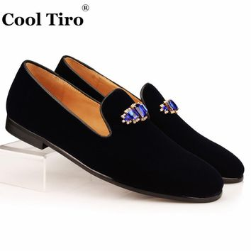 Cool Tiro Blue Crystal Brooch Men Slippers Navy Velvet Loafers Men's Dress Shoes Wedding Moccasins Formal Flats Genuine Leather