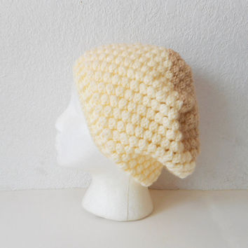 Textured Bobbles Slouchy Tam Hat in Two Tone Cream and Beige , ready to ship.