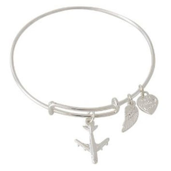 Expandable Bangle Bracelet Airplane Charm Silver Plate