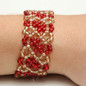 Glass seed beads stretch bracelet