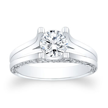 Ladies 18kt white gold split band engagement ring 0.50 ctw G-VS2 diamonds with 1.00ct Round White Sapphire Ctr