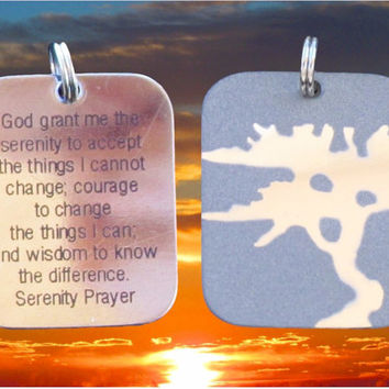 Silver Serenity Prayer Tree of Life Necklace Pendant DogTag Mens Womans Boyld Girls Punk Hip Hop Christian Jewelry - Saint Michaels Jewelry