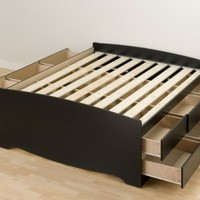 Black Tall Full Captain's Platform Storage Bed with 12 Drawers