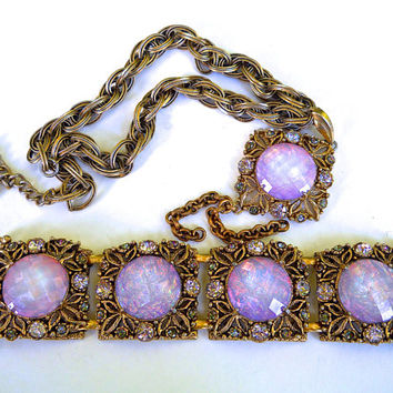 Signed SELRO Fire Opal Necklace-Bracelet Set, Thermoset, Vitrail Rhinestones, Vintage