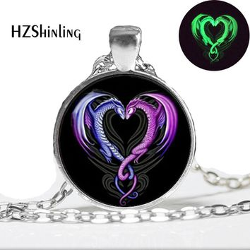 Glowing Necklace Pendant Dragon Necklace,Glow in the DARK, art photo dragon heart  glass dome necklace glowing jewelry