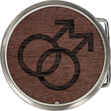 Real Purple Heart Wood Circle Male Insignia Belt Buckle