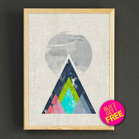 Abstract Mountains Watercolor Art Print Minimalist Geometric Poster House Wear Wall Art Decor Gift Linen Print - Buy 2 Get FREE - 259s2g