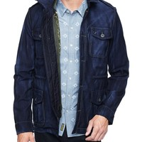 True Religion Denim Military Mens Jacket With Quilted Camo Vest - Homecoming