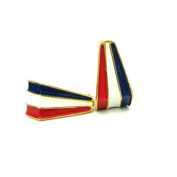 Red White & Blue Stripe Enamel Earrings Crown Trifari Gold Tone Clip Ons Geometric Hoops Vintage 1960s American Patriotic Fashion Jewelry