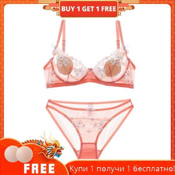 Shaonvmeiwu Autumn and winter sexy lace ultra-thin perspective temptation lingerie bra suit transparent no sponge thin bra girls