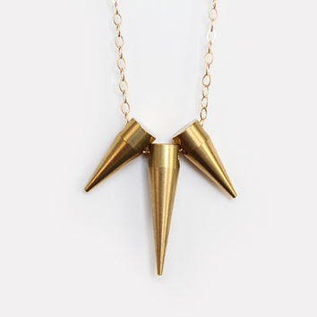 Triple Brass Spike Necklace - 14k Gold Filled Chain - 30 inch