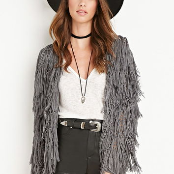 Fringed Open-Knit Cardigan