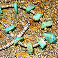 Turquoise Nugget Heishi Necklace Sterling Silver Bohemian Jewelry