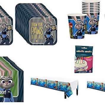 Zootopia Party Pack For 20 Guests With Bonus Colorific Candles