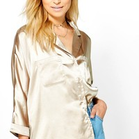 Taylor Revere Collar Satin Long Sleeved Shirt | Boohoo