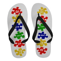 Autism on Puzzle Pieces Flip Flops