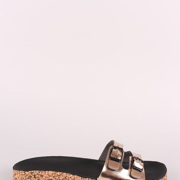Qupid Metallic Double Buckled Cork Footbed Sandal