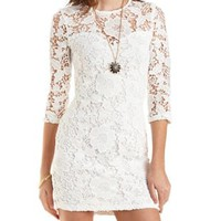 Bodycon Floral Lace Dress by Charlotte Russe - White