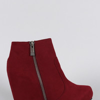 Bamboo Round Toe Wedged Booties