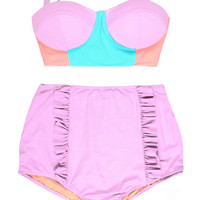 Color Block Lavender Mint Old Rose Midkini Top and Mint Blue Ruffle High Waisted Shorts Bottom Swimsuit Vintage Retro Bikini Swimsuits S M