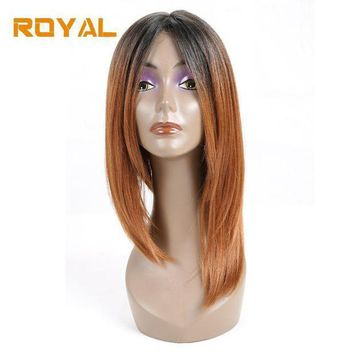 Royal Short 100%human Hair Brazilian Straight Hair Bob Wig For Black Women1b/30 Ombre Color Non Remy Hair