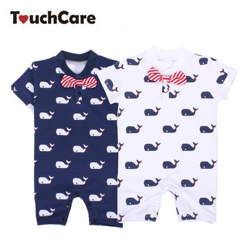 Whale Printed Baby Boy Rompers