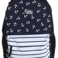 New Navy Cool Big Capacity Anchors Stripes Prints Funny Laptop Book Travel Hiking Backpack Fashion Men Women Girl Boy School Double Shoulder Bag