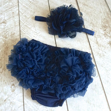 Baby Girl Ruffle Bottom Bloomer & Headband Set in Navy - Newborn Photo Set - Infant Bloomers - Diaper Cover - Baby Gift - by Couture Flower