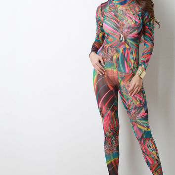Semi-Sheer Abstract Print Mesh Jumpsuit