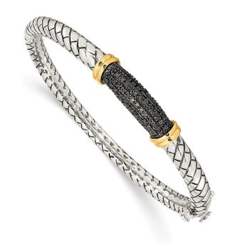 Sterling Silver Two Tone Silver And Gold Plated Sterling Silver w/Black Diamond Bangle Bracelet