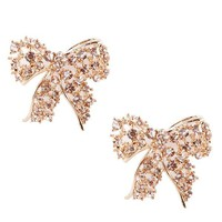 SAJ971 Rhinestone Bow Tie Earrings Gold Shop Accessories at MakeMeChic.com