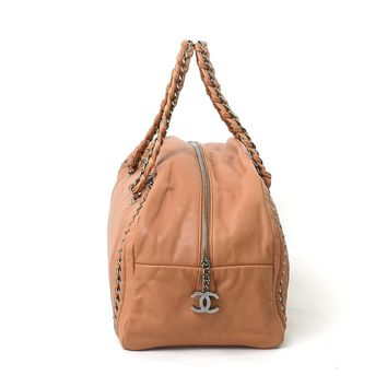 Auth CHANEL Mademoiselle Bowling Bag Shoulder Bag Light Brown Leather - 93351