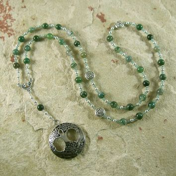 Nemetona Prayer Bead Necklace in Moss Agate: Gaulish Celtic Goddess of the Sacred Grove