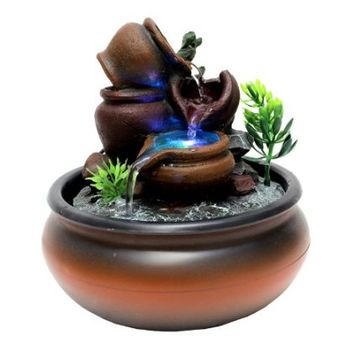 Small Pots Tabletop Water Fountain with Color LED Light