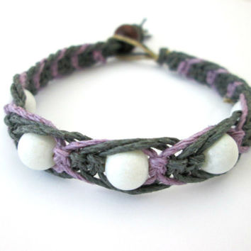 Fishbone Knot Macrame Bracelet Gray and Purple Beaded Hemp Bracelet